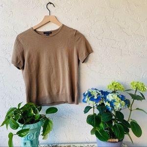 vintage 90s knit crop beige short sleeve sweater